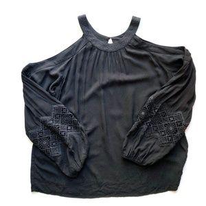Express Cold Shoulder Oversized Embroidered Blouse
